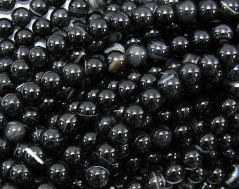 "6mm black sardonyx round beads 15"" strand 16631"