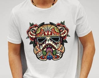 Men's Designer Stormtrooper Star Wars Sugar Skull - Cotton White T-Shirt
