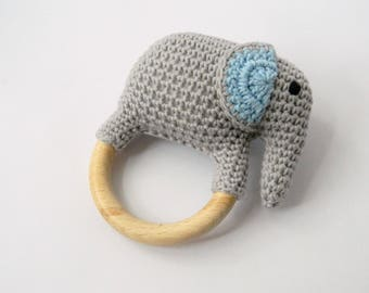 Christmas gift for a toddler Crochet elephant baby rattle Organic teething toy Baby shower gift for baby boy