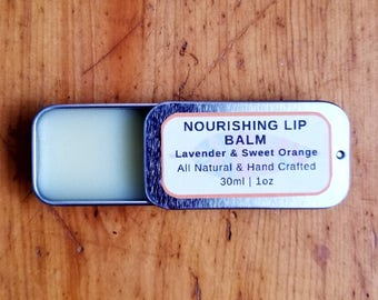 Nourishing Lip Balm | Lavender & Sweet Orange | All Natural Lip Balm | Moisturizing Lip Balm | Lip Repair