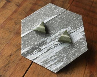 Green Small Triangle Stud Earrings