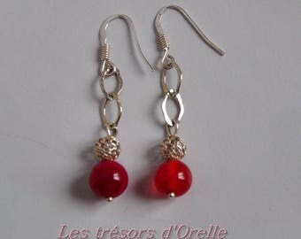 Earrings dangle silver and red agate