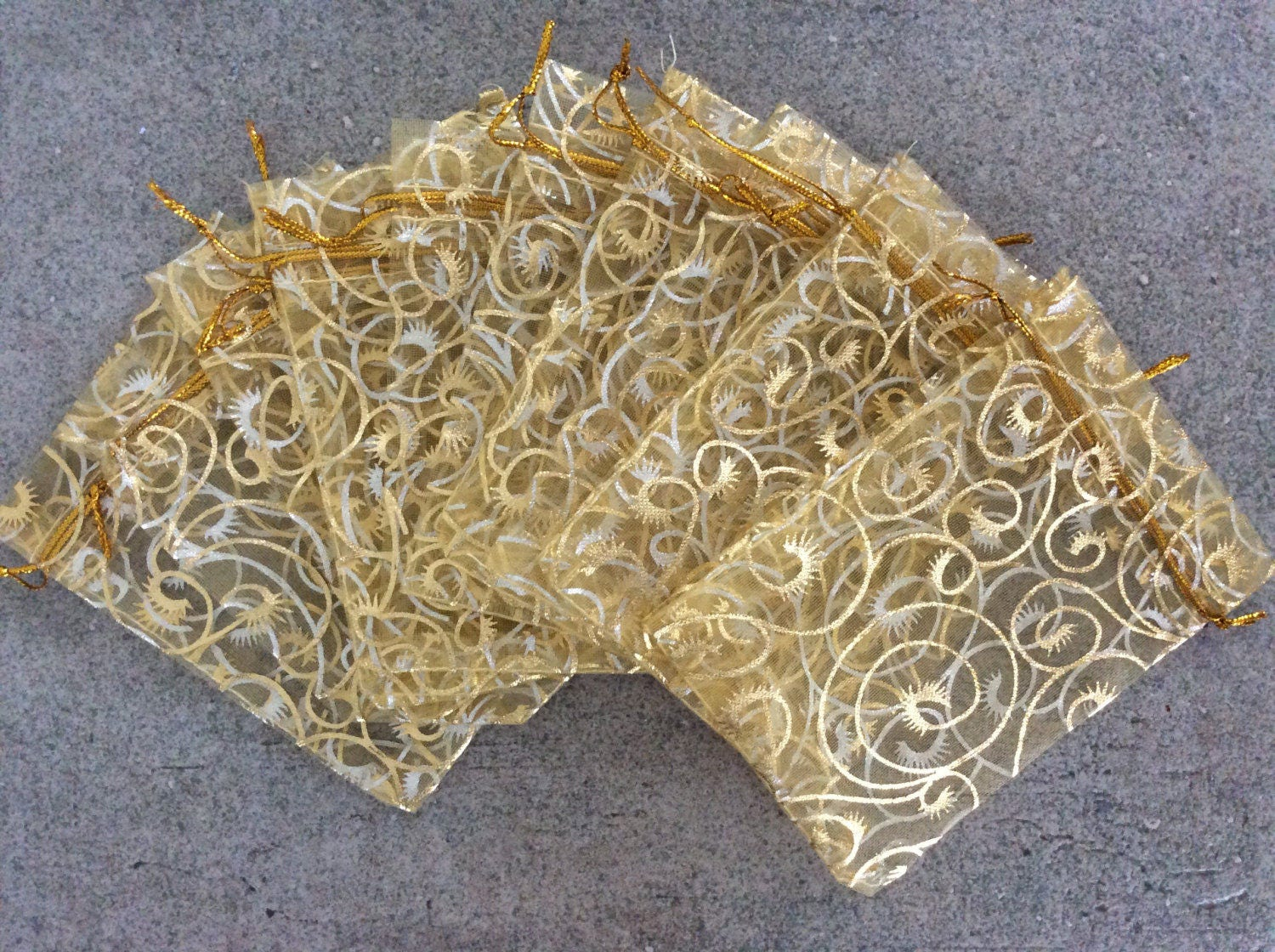 10 pc gold swirl print 3x4 organza gift bags jewelry pouches bulk wedding party bridal shower baby shower from beadedtasselco on Etsy Studio