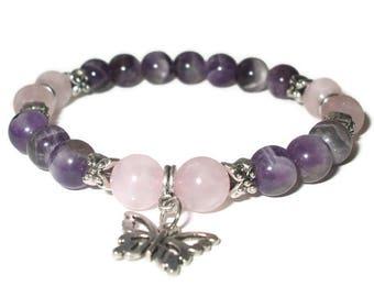Amethyst bracelet Rose Quartz healing bracelet calming Yoga Bracelet Meditation bracelet Reiki wrist mala Butterfly charm bracelet Grade A