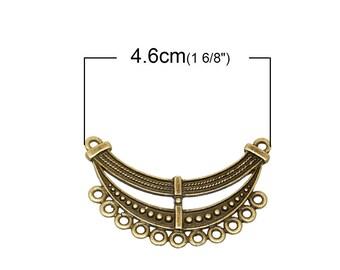 1 large connceteur for necklace, necklace, engraved ethnic antique bronze