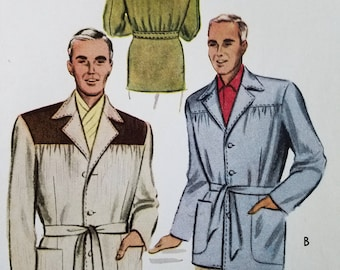 1951 Men's Belted Ricardo Jacket Sewing Pattern - Rare Size 44 Factory Folded - Hollywood