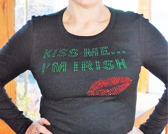 St Patrick's Day Kiss Me I'm Irish rhinestone bling shirt,  XS, S, M, L, XL, XXL, 1X, 2X, 3X, 4X, 5X
