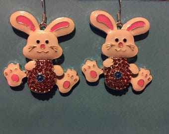 Rhinestone Easter Bunny Earrings   AL42