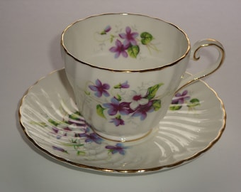 Aynsley England Violets ChinaTea Cup and Saucer