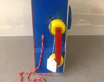 Playskool pay and play doorknob rotary dial telephone toy vintage 1960s