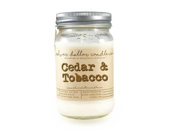 Cedar & Tobacco 16oz Scented Candle, Fall Decor, Mason Jar Candles, Winter scents, Thanksgiving gift, Christmas candles, christmas gifts