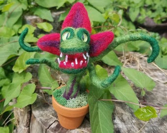 Needle Felted Carnivorous Plant in Pot