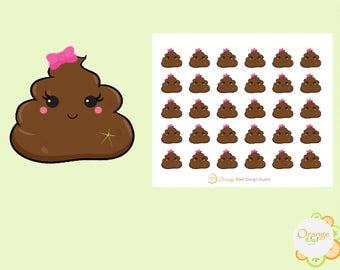 Kawaii Poop Stickers, Poop Emoji Stickers, Kawaii Planner Stickers, Erin Condren Life Planner