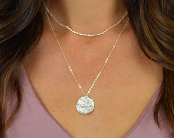 Wavy Disc Necklace || 14k Gold Filled || Sterling Silver