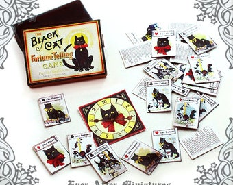 BLACK CAT Fortune Telling Miniature Game #2 – 1:12 Halloween Dollhouse Fortune Teller Divination Magic Vintage Card Game Printable DOWNLOAD