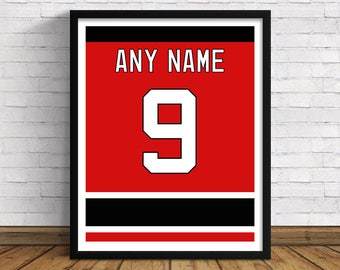 New Jersey Devils Custom Jersey Back   Any Name & Number   Art Print   Perfect Gift for Hockey Fans