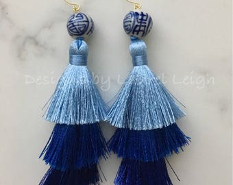 BLUE Ombré Layered Tassel Earrings | chinoiserie, navy, ombre, stacked, tiered, blue and white, gold, Chinese, statement earrings