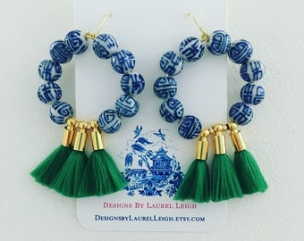 GREEN Chinoiserie Tassel Hoop Earrings | lightweight, blue and white, gold, statement earrings, Designs by Laurel Leigh