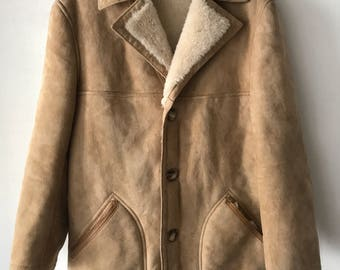 Sheepskin fur coat man size medium .