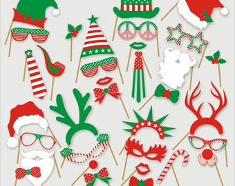 Christmas Photo Booth Props Printable INSTANT DOWNLOAD New Year Printable Props Digital File Christmas Party Decor