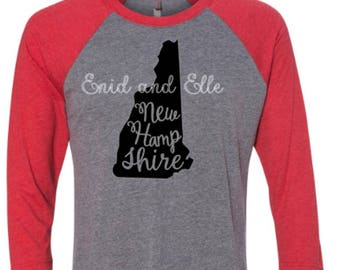 New Hampshire t-shirt - New Hampshire state shirt - New Hampshire home t-shirt-home shirt-New Hampshire baseball shirt-New Hampshire raglan