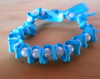 Blue satin ribbon wedding bracelet