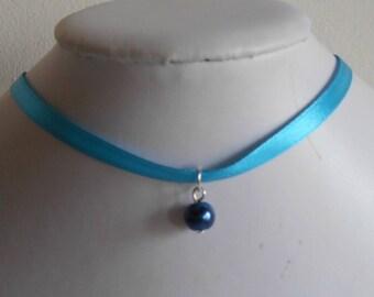 Navy wedding adult/child blue satin ribbon and pendant necklace