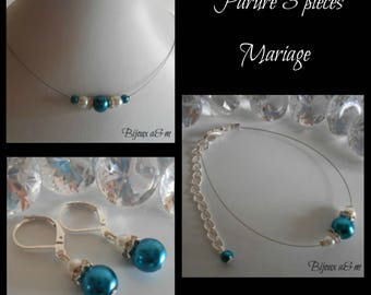 Set of 3 wedding pieces rhinestone and Pearl White and blue Peacock