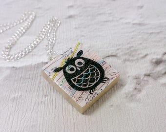 Chubby Owl Scrabble Tile Map Pendant