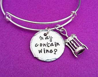 may contain wine, wine lover bangle, wine gifts, wine lover, wine christmas present, gift for her, gift for mum, wine lovers jewelry, wine