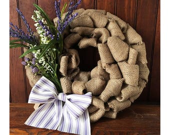 Spring Burlap Wreath- Repurposed Coffee Bean Bag