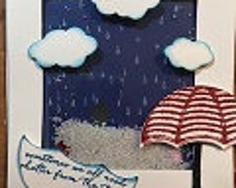 Red White and Blue Rain Greeting Card