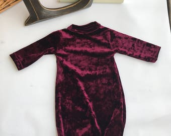 New!!! Velour Newborn Going Home Gown with Matching velvet velour headband and pant/Christmas /gift Idea/Coming Home From Hospital