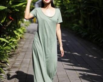 Long t-shirt dress in green colour