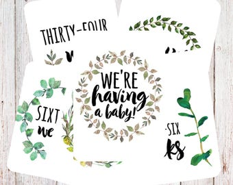 Botanical Pregnancy Milestone Cards