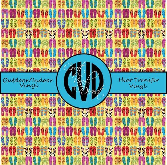 Flip Flop Patterned Vinyl // Patterned / Printed Vinyl // Outdoor and Heat Transfer Vinyl // Pattern 730