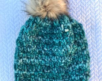 handmade chunky 100% wool hat with faux fur pompom, hand knit, pom pom hat