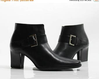 FLASHSALE 40% OFF vtg 90s Black Leather Minimalist Structural Buckle Ankle Boot  Size US 7 M