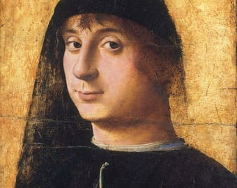 Portrait Of A Young Gentleman by Antonello Da Messina - Poster A3 or A4 Matt, Glossy or Art Canvas Paper