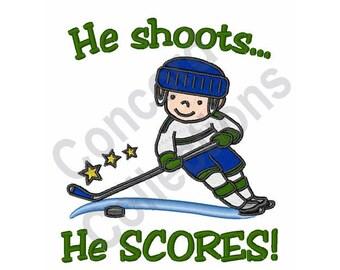 Hockey - Machine Embroidery Design, He Shoots He Scores, Goal