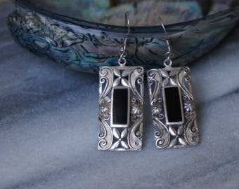 Vintage, Sterling Silver Earrings, black onyx earrings