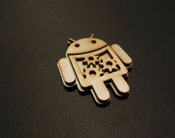 """3D android decoration with neodymium magnet - Laser cut - 1.57x1.18"""" - Crazy gift - Available for larger quantities - With Magnet"""