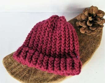 SUMMER SALE - Pink Aran baby hat, newborn hat, baby shower gift, baby gifts, baby girl hat, baby boy hat, loomknit hat, cosy wool hat
