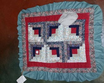 Upcycled Quilted baby blanket/crib blanket