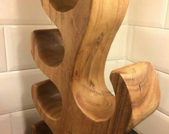 wine rack wood, wooden wine rack, wood wine rack 6 holder, wine holder, 6 wine bottle holder hand carved