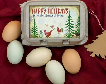Custom Egg Carton Labels - Merry Christmas - Holiday Label - Watercolor Vintage Design - all text is customizable, for Half Dozen Cartons