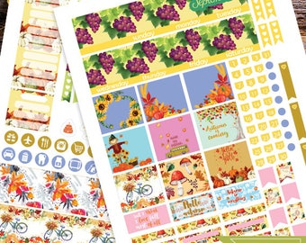 September Monthly Planner stickers for use with Erin Condren LifePlanner, September Planner Stickers Instant Download,Fall Planner Stickers