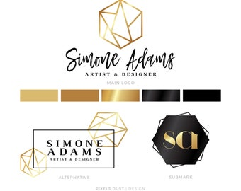 LOGO KIT, Gold Logo Branding Package, Hexagon Logo, Logo Design, Fashion Logo, Blog Logo, Geometric Logo, Branding Design Kit, Bespoke Logo
