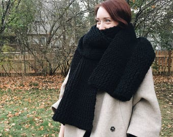 Oversized Hand Knit Wool Blanket Scarf