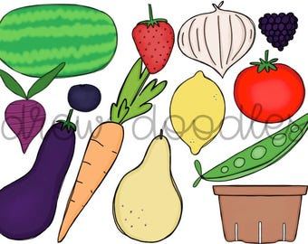 Fruits and Veggies Digital Clip Art- Instant Download